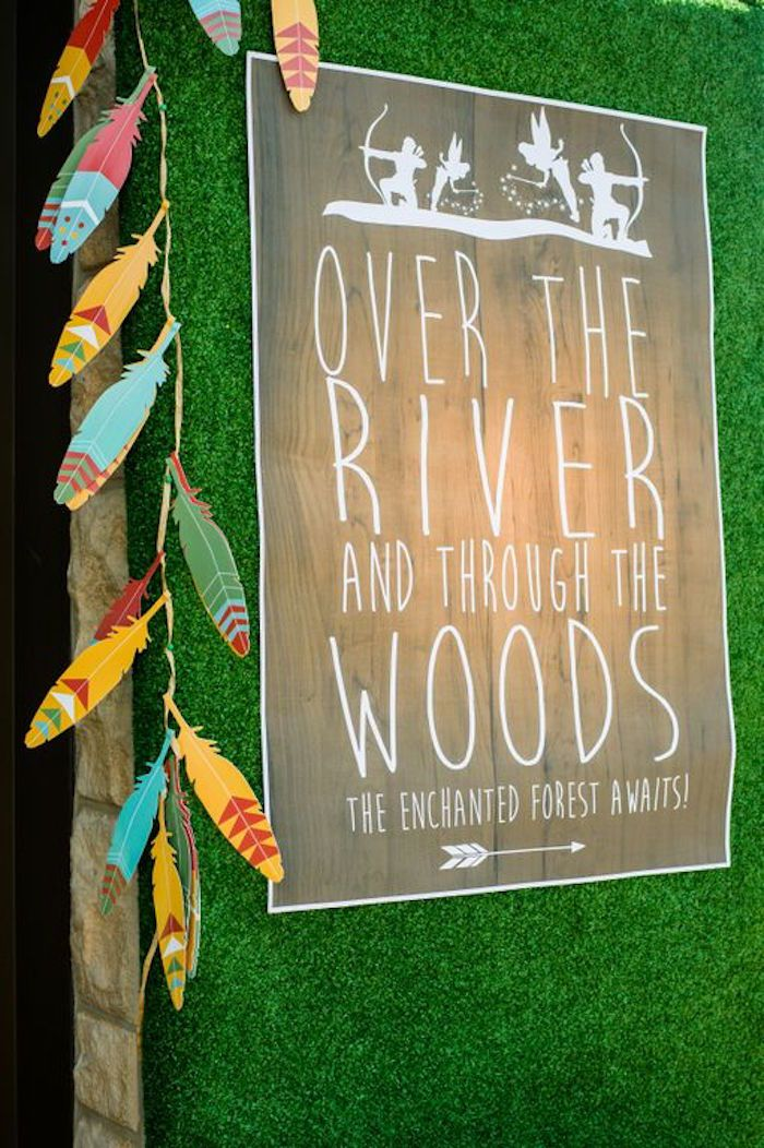 Sign from a Robin Hood & Tinker Bell Enchanted Forest Birthday Party via Kara's Party Ideas! KarasPartyIdeas.com (8)