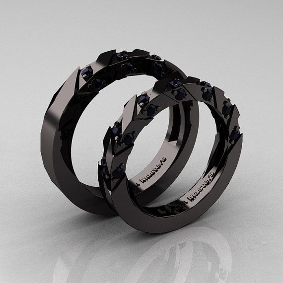 modern italian 14k black gold black diamond wedding band set r310bs 14kbgbd on etsy - Wedding Rings Black