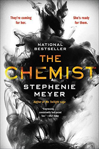Paperback cover for Stephenie Meyer's The Chemist. White background with large cloud of black smoke, title in yellow-red colors to mimic flames