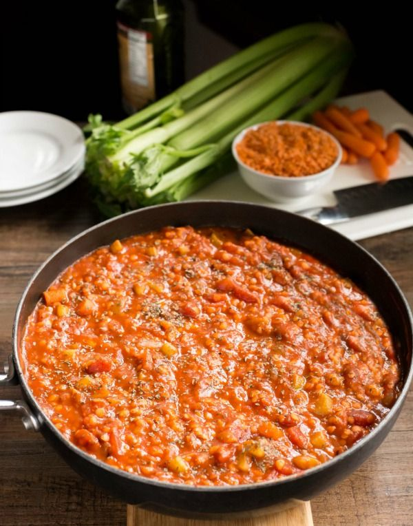 Delicious, hearty sauce that's packed with veggies. It's also vegan and gluten free.