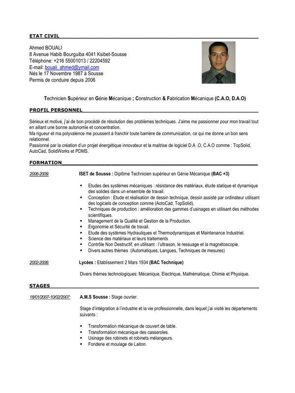 Modele De Cv Maroc Resume Examples Resume Template