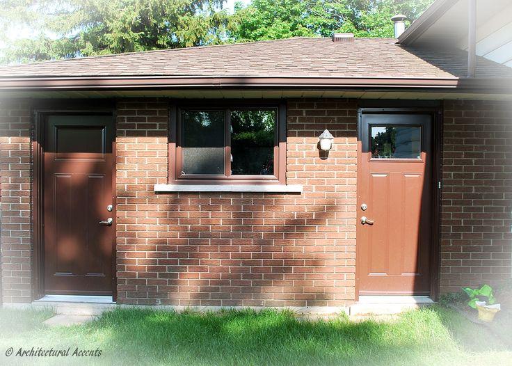 Back doors, Chestnut Brown exterior finish with clad vinyl frame. Left door: Solid three panel door. Right door: two panel with 2217 clear glass. Single slider window, Chestnut Brown exterior finish. Retrofit installation.