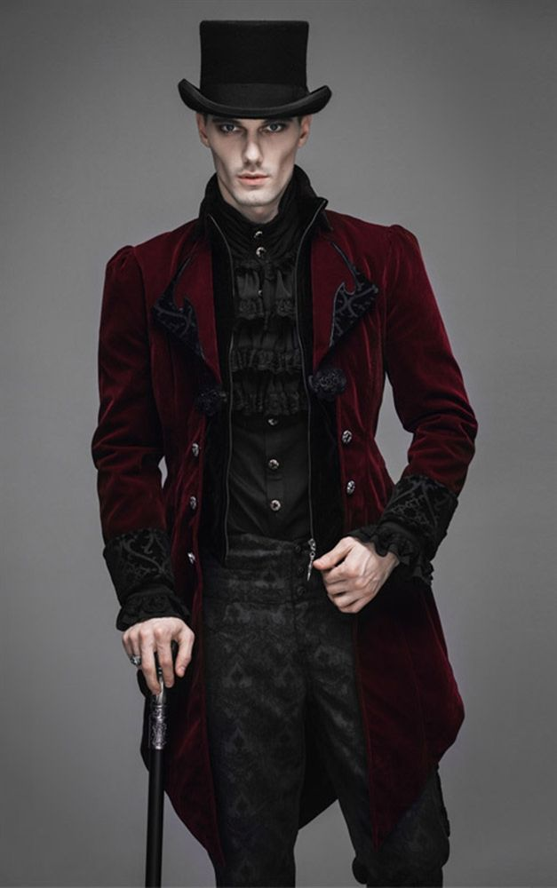 Devil Fashion Mens Gothic Red Storm Velvet Jacket Weird