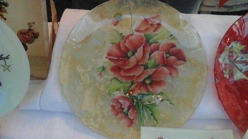 Piatto in vetro tondo grande con papaveri