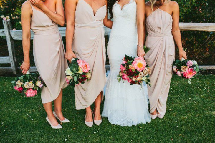 Nude Peach Bridesmaid Dresses Mismatched Long Mid Length Whimsical Barn Wedding Australia http://throughthewoodsweran.co.uk/