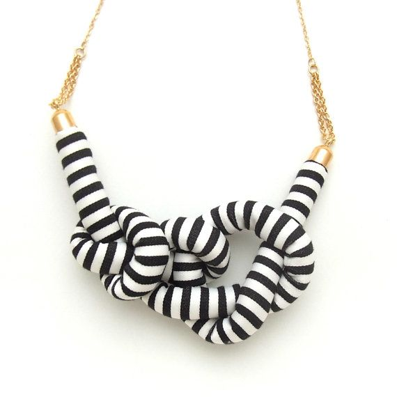 Stripe Rope Knot Necklace  BLACK by HOMAKO on Etsy
