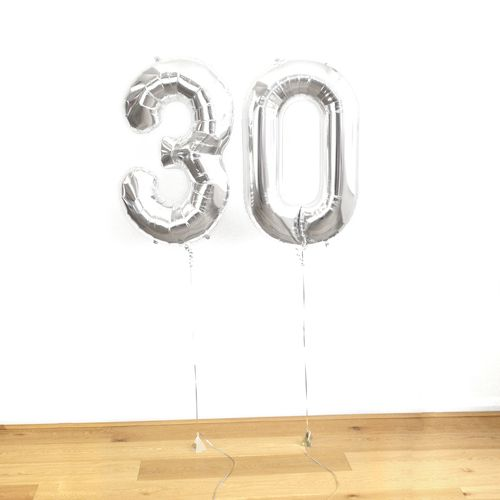 Metallic silver helium number balloon for birthdays and anniversaries