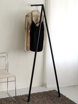Perfect storage idea for the guest bedroom. Always nice to have a little hanging space for guests. #home #style