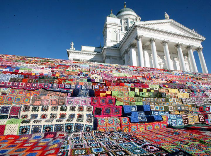 Probably the largest knit/crochet blanket ever (Finland)