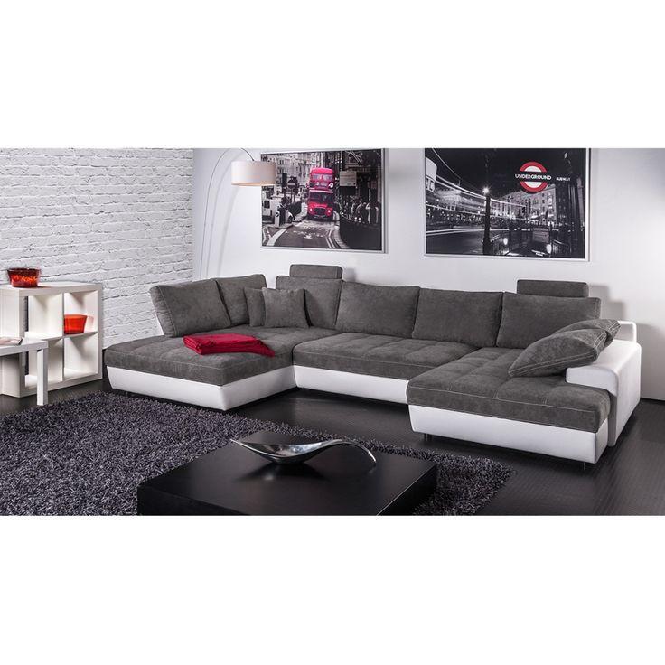 Canapé panoramique Marit (convertible) - Imitation cuir blanc / Microfibre gris foncé