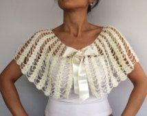 Scialle del Cape, splendente Crochet scrollata di spalle Bolero, vestito da sposa crema avorio sera insabbiamento damigelle d'onore ha rubato il matrimonio d'inverno, su ordinazione