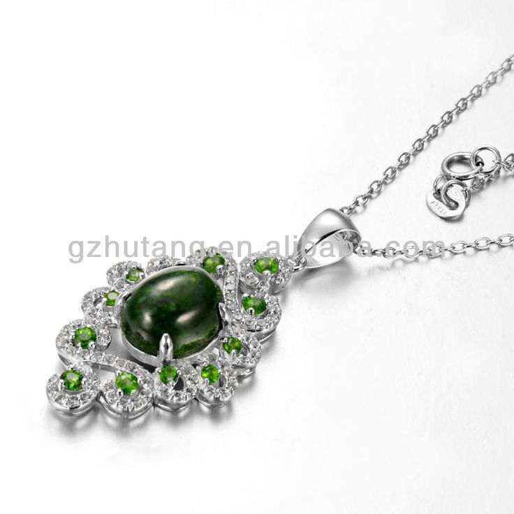 1.pendant with semi-precious stone,Chrome diopside 2.Factory wholesale price 3..other stone available,like citrine,amethyst.