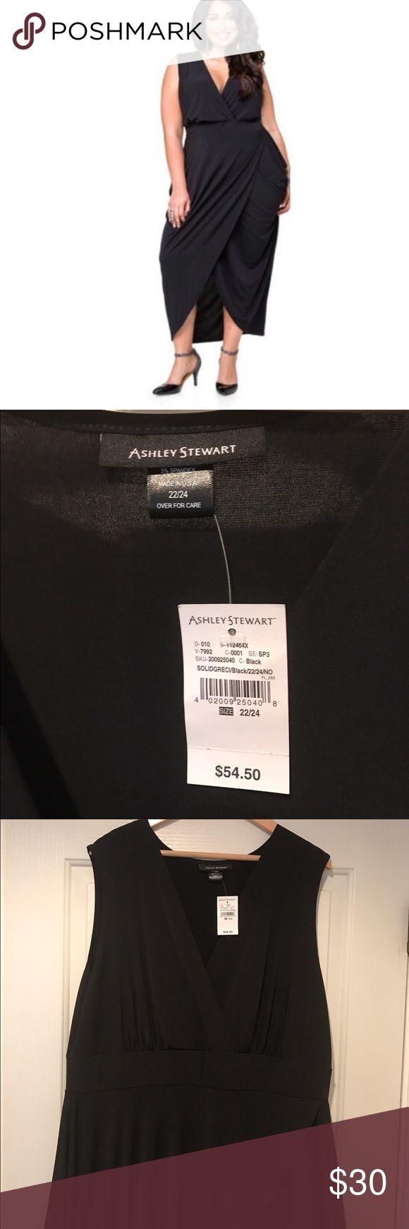 Black Grecian Surplice Dress Black tulip bottom dress. Never worn. Tags intact. Ashley Stewart Dresses