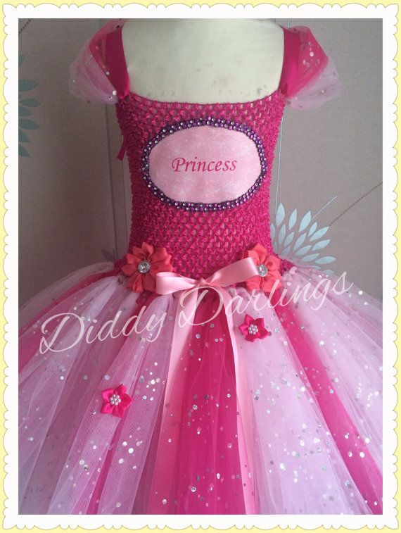 Sparkly Pink Princess Tutu Dress. Handmade door DiddyDarlings