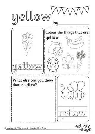 Yellow Colour Worksheet English exercises Preschool