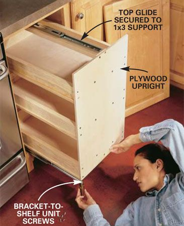 How to build slide out shelves in a cupboard + other projects to gain more space in cabinets from The Family Handyman#crackedpipes #plumbingfails #productdesign #waterburst #diyideas #fixaleakweek2014 #moneysavingideas #homerepair #plumbingusa #diygifts #allboards #newinventions #stopawaterleak#burstpipe# #plumbers#diy##diyhouseholdfixes #plumbersupplies #frozenpipes#dripingpipes#leakssweden #tools #leakmate #waterdamage #plumbingdisasters #