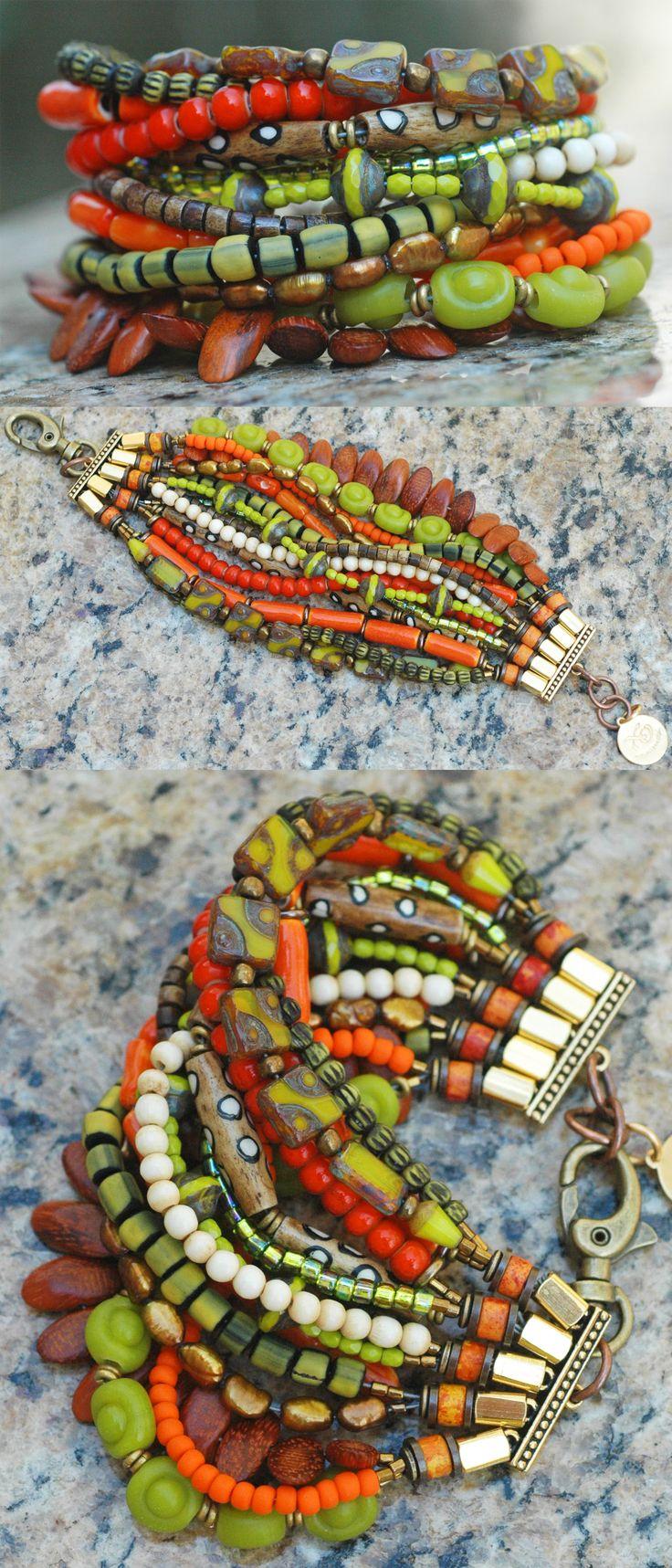 Bohemian Multi-Strand Beaded Cuff Bracelet $200 the ultimate summer boho chic…