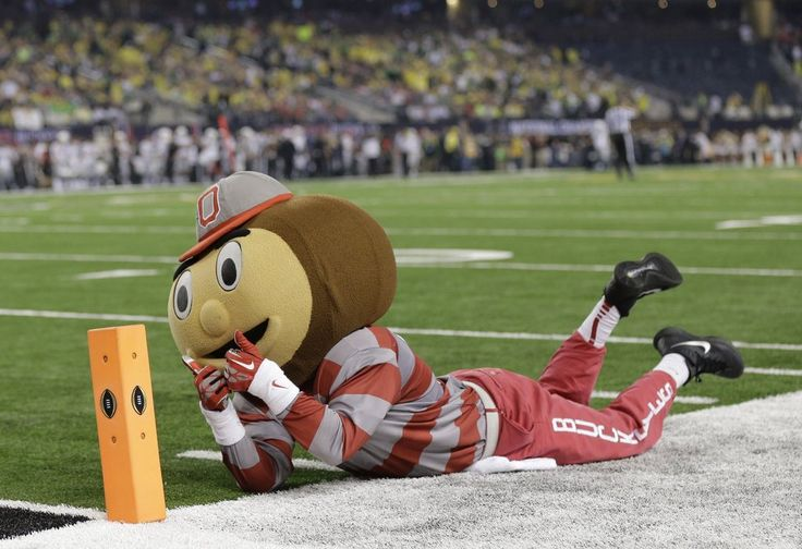 """Ohio State mascot """"Brutus Buckeye"""" is seen during the first half. National Championship game 2015."""