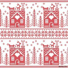 Vector: Scandinavian Nordic Christmas seamless  pattern with gingerbread house, snow, reindeer, Santa's  sleigh, trees, star, snow, Xmas gift, snowflakes in red cross stitch