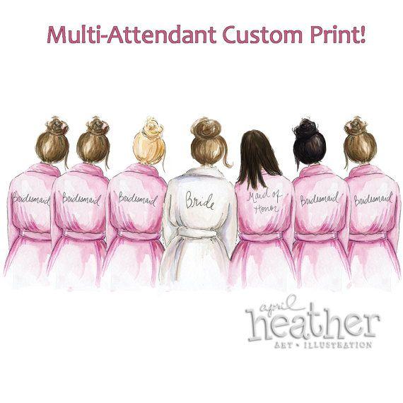 CUSTOM Print PDF-Multiple Attendant 5x7 or 8x10 Art Print Maid