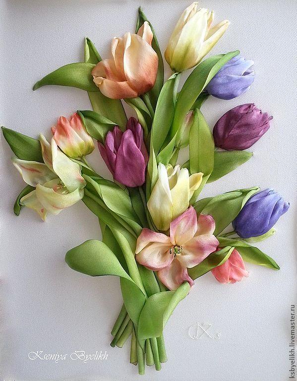 Купить Тюльпаны - тюльпаны, картина в подарок, Вышитая картина, бордовый, шёлковая лента