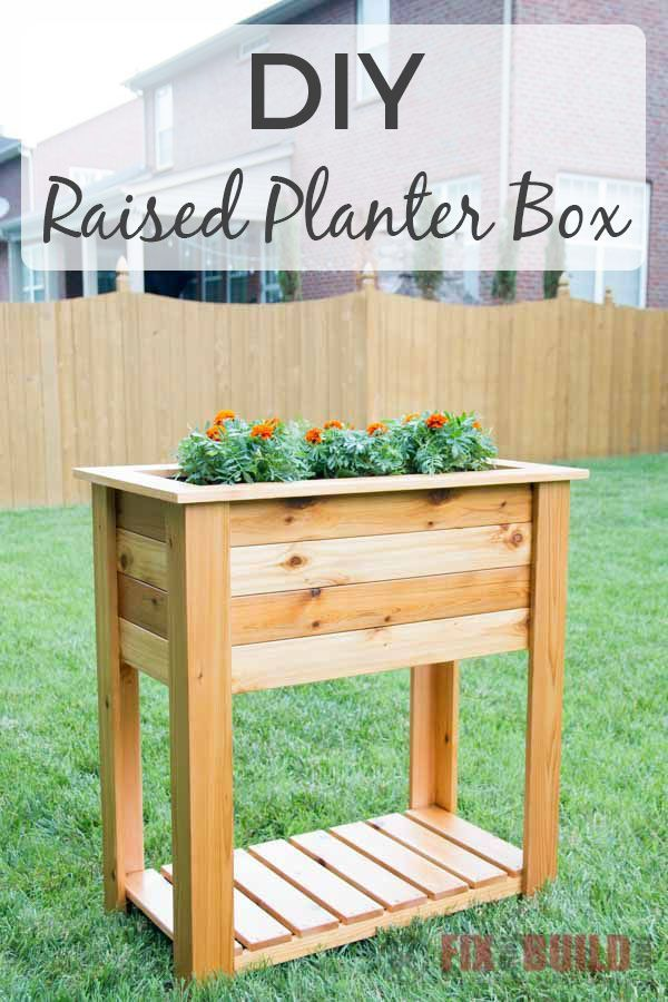 How To Build A Diy Raised Planter Box With Hidden Drainage System This Wooden Diy Planter Bo Raised Planter Boxes Plans Raised Planter Boxes Planter Box Plans