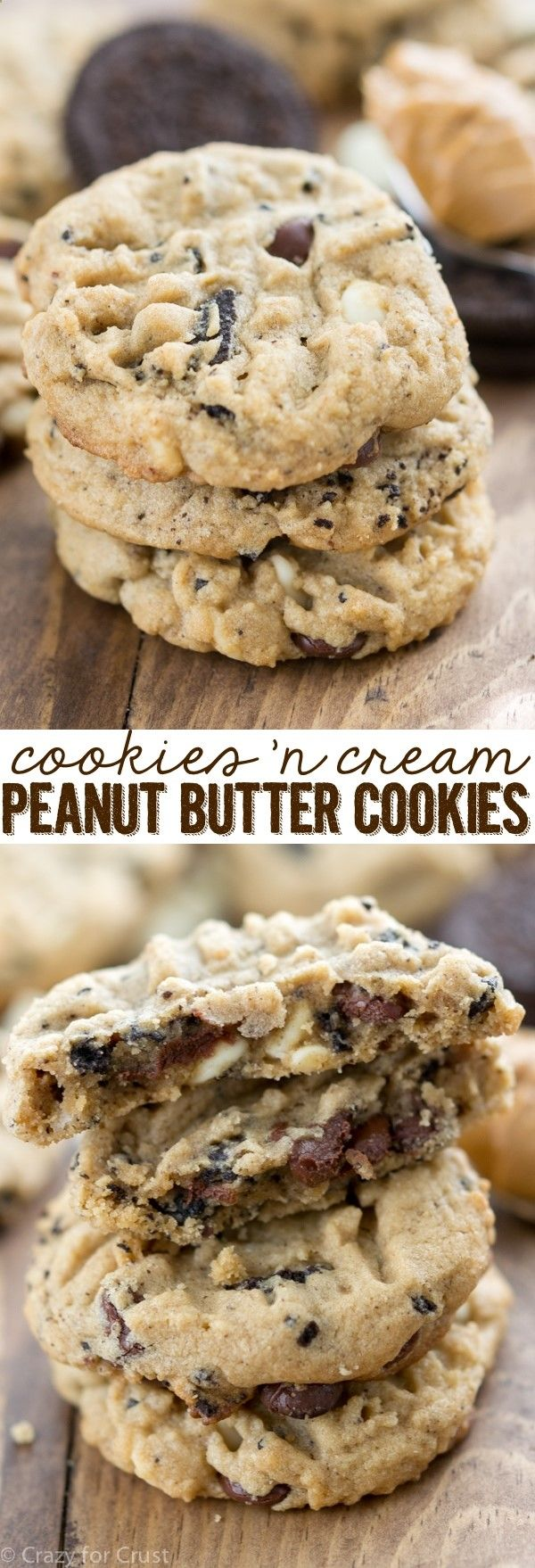 Cookies n Cream Peanut Butter Cookies are my favorite peanut butter cookie recipe filled with chocolate chips, white chocolate, and crushed Oreo pieces!