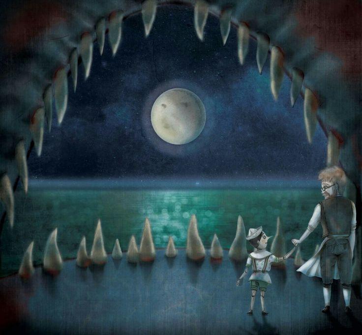 Pinocchio  Dentro il pescecane Digital illustration Matite e colorazione digitale
