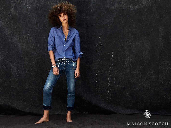 Denim kommt einfach nie aus der Mode... #Damenmode #YoungFashion #ModeGarhammer #MaisonScotch #Denim #Jeans