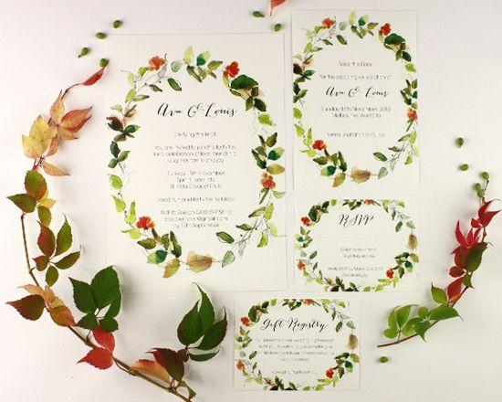 watercolour wedding invitation Corona001 Watercolour Wedding Invitations From Santiago Sunbird