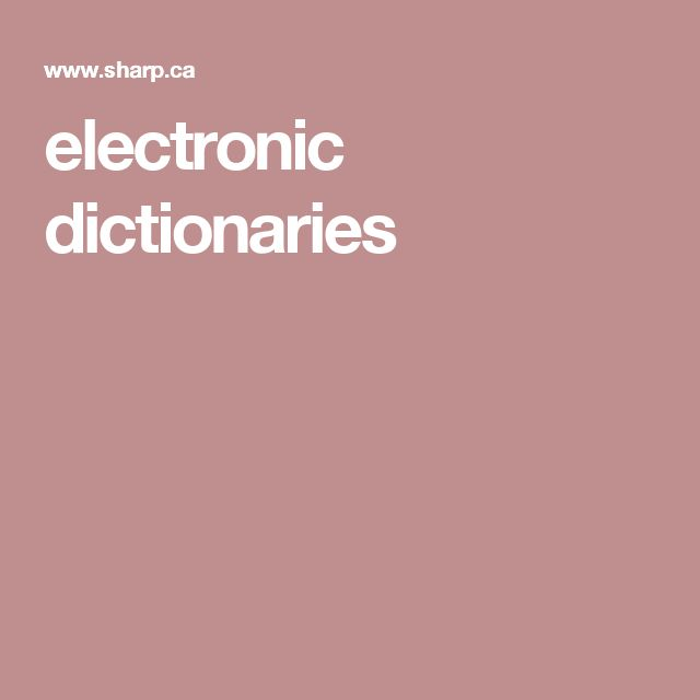 electronic dictionaries