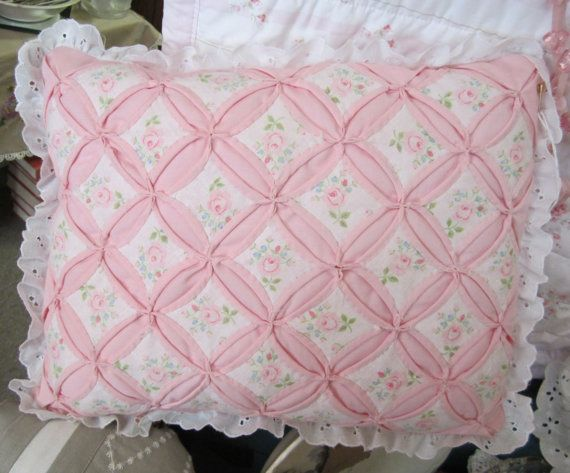 Cathedral Window Quilt Pillow Hand Made Hand Sewn Pink and White Pillow w/ new Pink Fleece Back