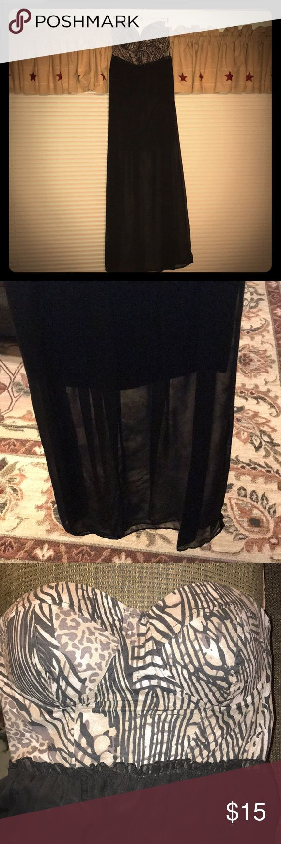 Strapless Long Dress Animal print top and black bottom long dress for sale! Bottom has a sheer overlay. This dress is so fun! Charlotte Russe Dresses Strapless