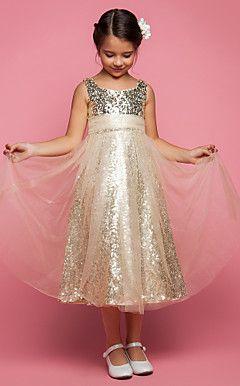 a-lijn prinses juweel thee-length tule bloem meisje jurk (551499)