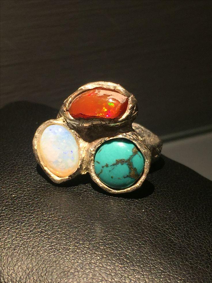 Turchese opale di fuoco e pietra di luna  montati su argento