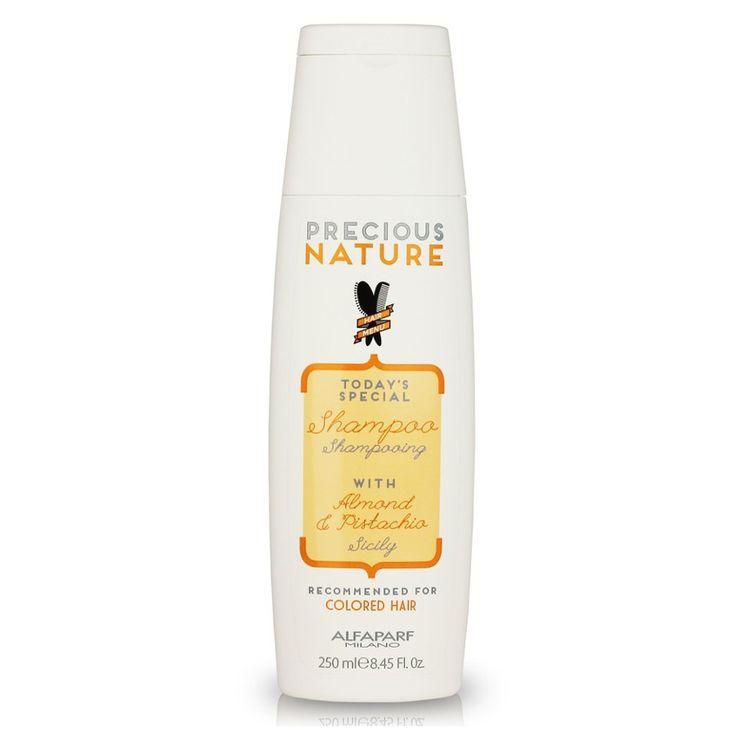 Alfaparf Precious Nature Shampoo Sicily para cabellos teñidos 250 ml.  Precious Nature Shampoo Sicily para cabellos teñidos 250 ml es un champú con almendra y pistacho especialmente diseñado para el cuidado y la protección del cabello teñido.