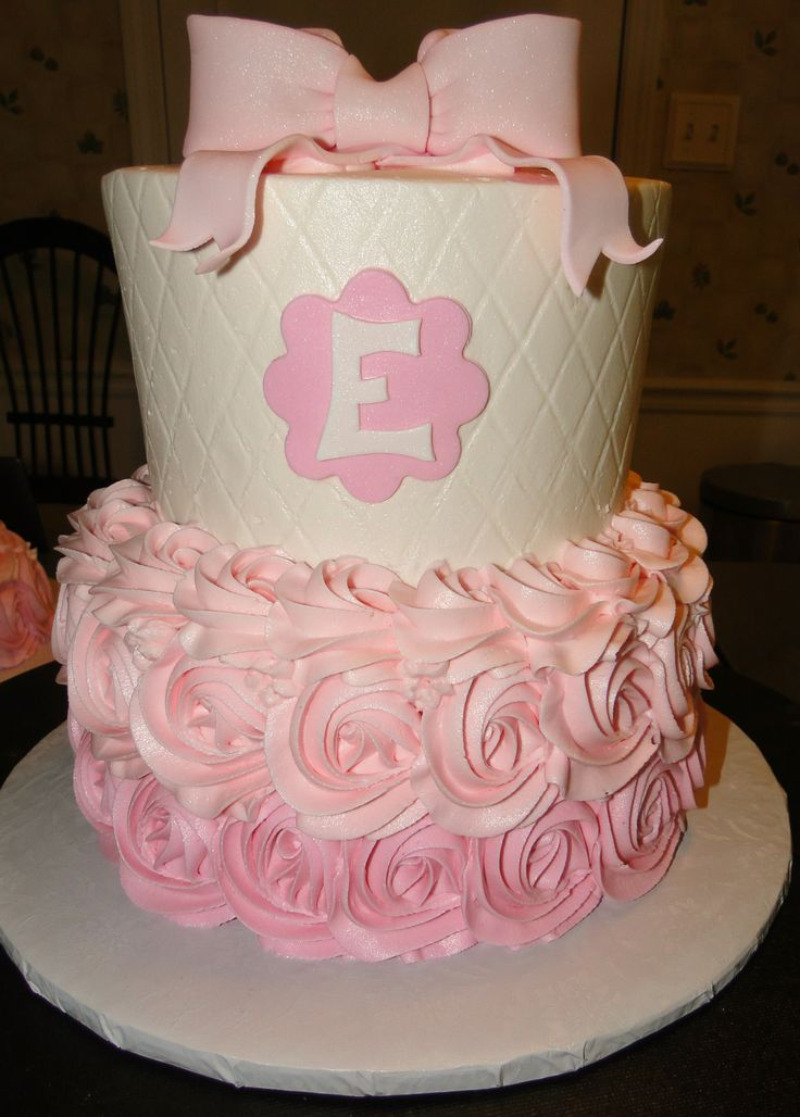 rosettes  quilted  pink baby girl first birthday tiered cake ombre buttercream fondant bow