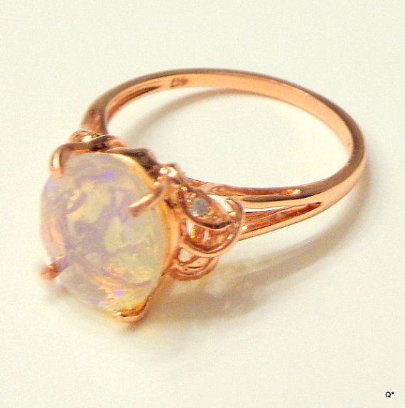 SZ 6.5 solide 14k bague en or Rose anneau par JanesGemTreasures