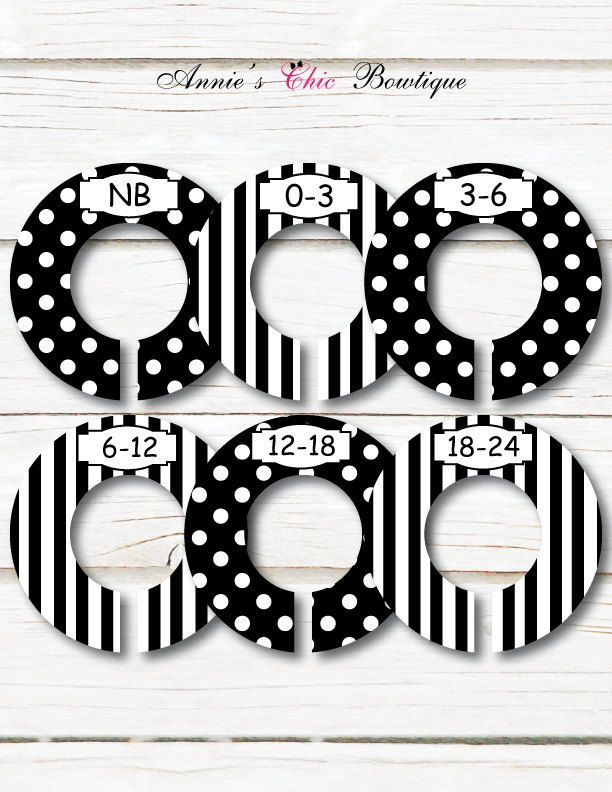 Black White Baby Closet Dividers, Closet Organizers, Girl Boy closet divider, Baby shower gift, Polka dot stripe, Kids Clothes divider, C145 by AnniesChicBowtique on Etsy