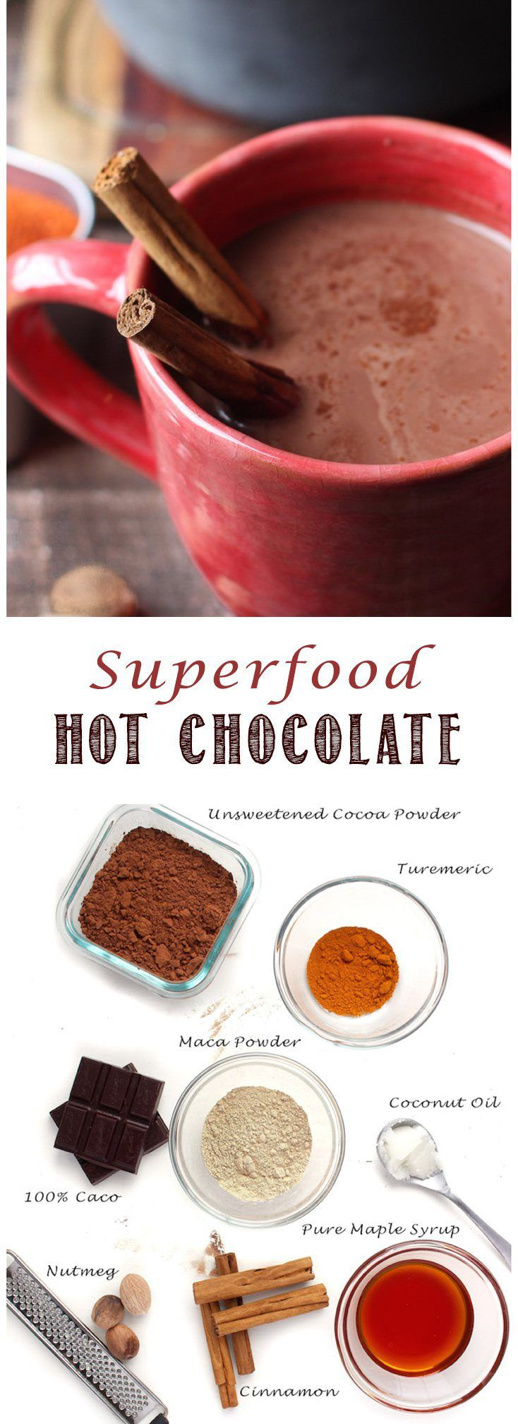 Superfood Hot Chocolate - with maca, coconut oil and turmeric. Yum!
