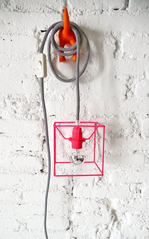 CUBE LAMP with textile cable, switch and plug - neon red