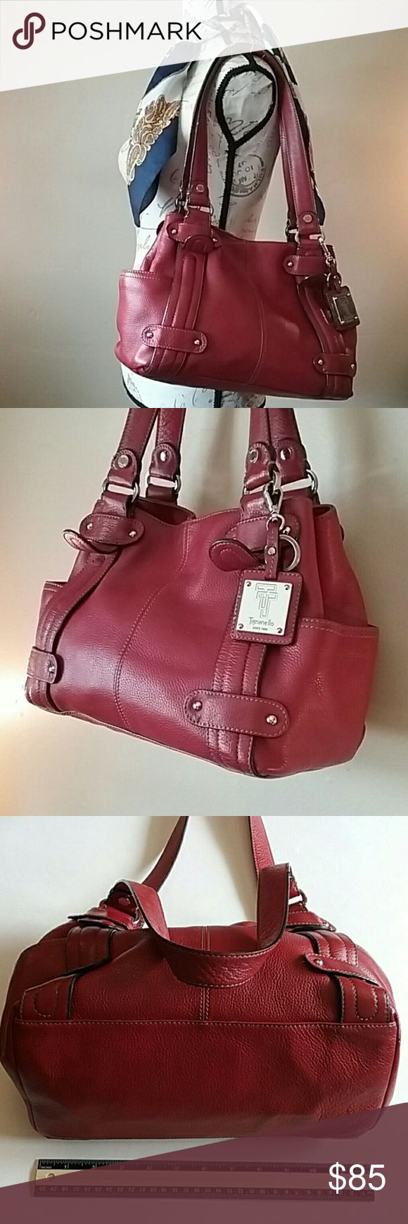 Huge tomato-red Tignanello leather bag. Like new! Love! A TON of bells and whistles, like the logo-engraved silver hardware, snaps on the huge side pockets, and magic magnetic closure on top.   Inside the gorgeous satin interior, you have two main compartments, with a zippered divider in the middle.  The first-rate logo tag also has a key chain.   BONUS  You get the pretty floral muslin tote as a dustbag. Tignanello Bags Satchels