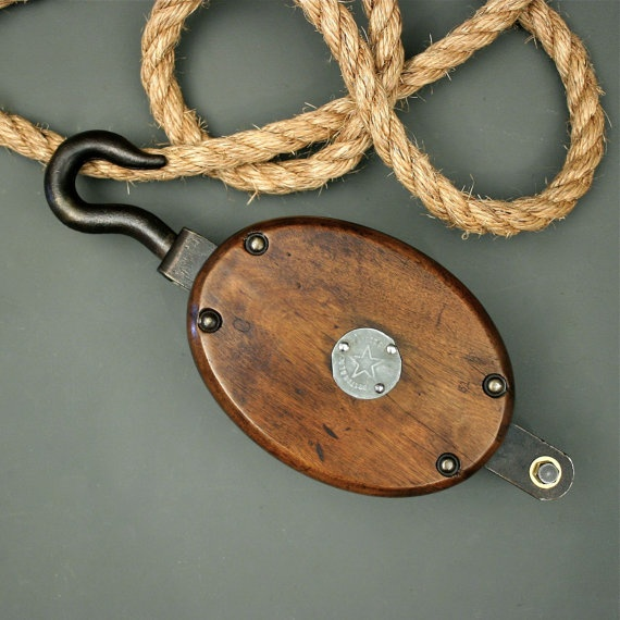 Rustic Light Industrial Chandelier Rope Pulley Yoke Wood Metal: 36 Best Images About Pulleys On Pinterest