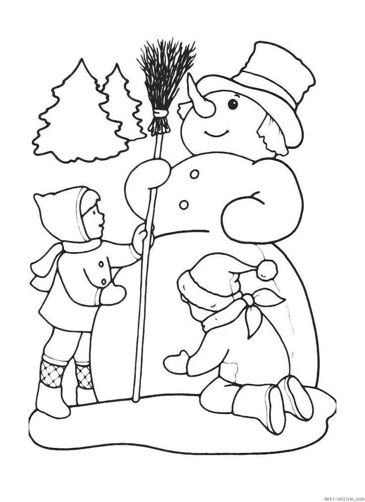 kleurplaat winter prazdniki snegoviki