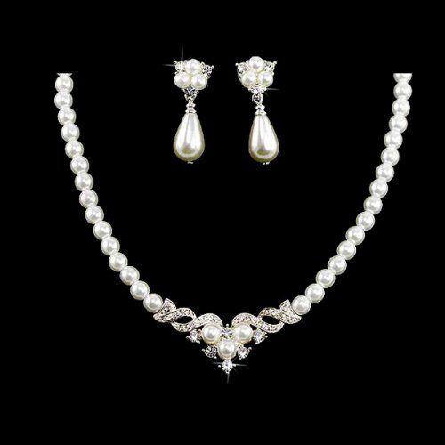 Bridal Wedding Jewelry Set Austrian Crystal Pearl Beautiful Elegant Necklace