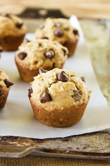 Oatmeal Chocolate Chip Banana Muffins. I used 2 bananas and doubled the recipe to make a dozen. Yum!