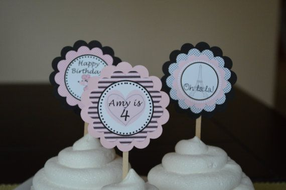 Pink Poodle In Paris Cupcake Toppers Set of by SweetEPaperBoutique, $10.00