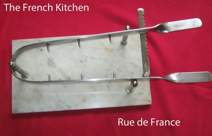 Vintage French Kitchen marble base ham holder / ham carving press