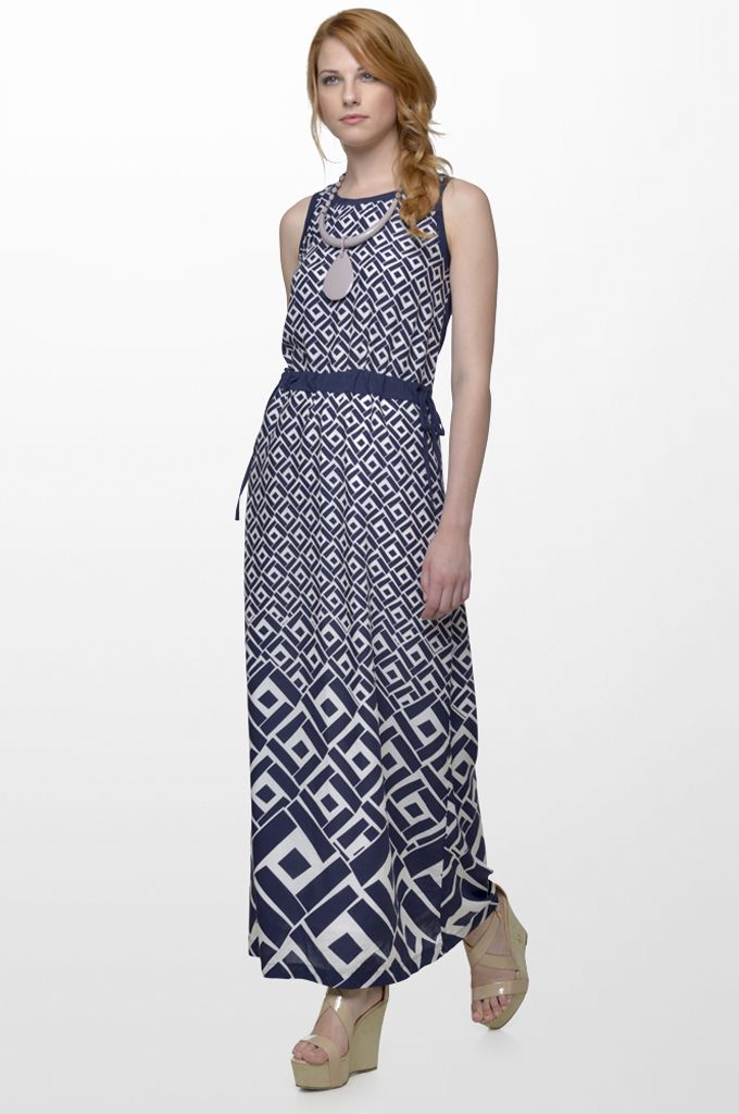 Sarah Lawrence - printed maxi dress, necklace.