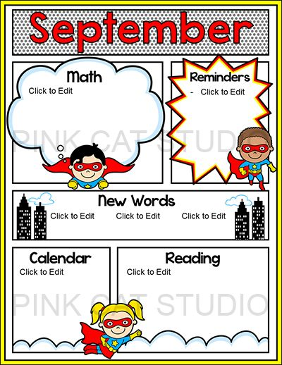 Parents will be excited to read the latest news from your SUPER classroom when you send home your fun comic book style superhero themed newsletter! All text is editable so the templates work great for any content and language. By Pink Cat Studio